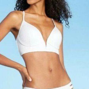 Womens Ribbed Bikini Swim Top 34B V-Wire White NEW